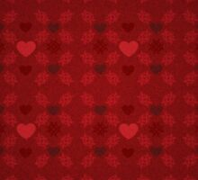 Grunge red pattern with hearts 5 Sticker