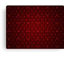 Grunge red pattern with hearts 6 Canvas Print