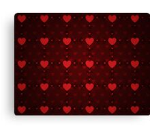 Grunge red pattern with hearts 8 Canvas Print