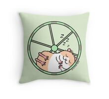 Hamster Sleeping in Exercise Wheel Throw Pillow