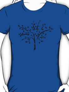 Tribal tree on blue T-Shirt