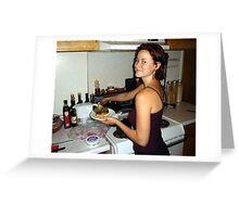woman preparing sandwich Greeting Card