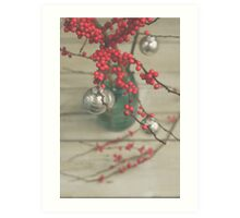 Winter Holly Berries Art Print