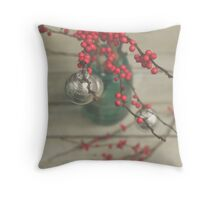 Winter Holly Berries Throw Pillow