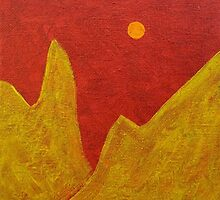 Yellow Mountain with Red Sky by hollycannell