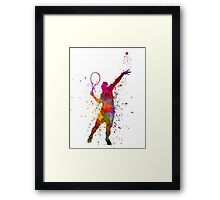 tennis player at service serving silhouette 01 Framed Print