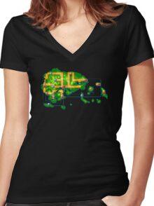 Hoenn map Women's Fitted V-Neck T-Shirt