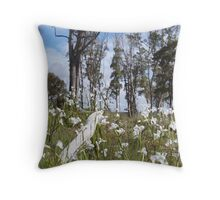 """""""hanging around"""" on the wire Throw Pillow"""