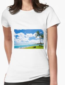 Coconut Palm tree on the beach in Hawaii, Kauai Womens Fitted T-Shirt