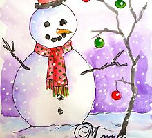 Snowman in snow by Emily King