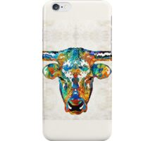 Colorful Longhorn Art By Sharon Cummings iPhone Case/Skin