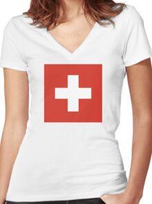 Switzerland - Standard Women's Fitted V-Neck T-Shirt