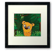 Tiger Peeking Framed Print