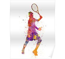 tennis player celebrating in silhouette 01 Poster