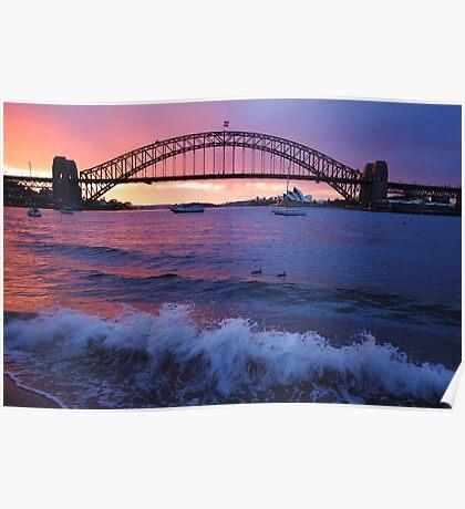 Morning Wake - Sydney Harbour, Sydney Australia Poster