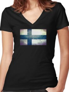 Finland - Vintage Women's Fitted V-Neck T-Shirt