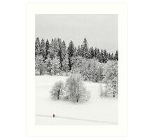 Walking through the snow Art Print