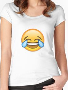 Emoji Crying With Laughter Face Women's Fitted Scoop T-Shirt
