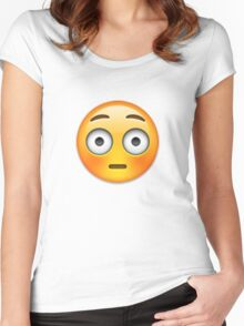 Emoji Flushed Face Women's Fitted Scoop T-Shirt