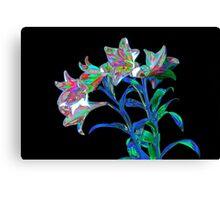 Fantasy Lilies on Black Canvas Print