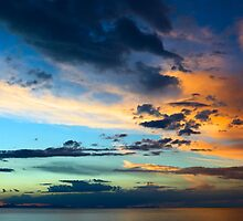 Evening Sky with Clouds Over Lake Titicaca in Bolivia by svenschermer