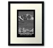 Longs Peak 14259 Ft Black and White Poster Framed Print