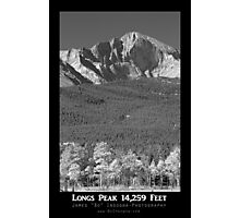 Longs Peak 14259 Ft Black and White Poster Photographic Print