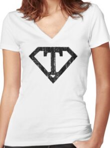 T letter in Superman style Women's Fitted V-Neck T-Shirt