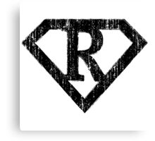 R letter in Superman style Canvas Print