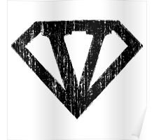 V letter in Superman style Poster