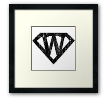 W letter in Superman style Framed Print