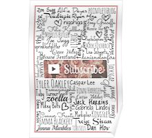 YouTuber Subscribe Floral Collage Poster