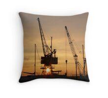 Dawn at the boatyard Throw Pillow