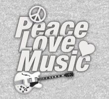 Peace,Love,Music White One Piece - Short Sleeve