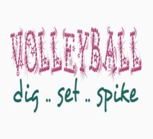 Volleyball Dig Set Spike (pink/green) Kids Clothes