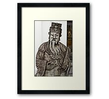 Cheeky Chinese Statue and Golden Buddha Framed Print