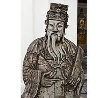 Cheeky Chinese Statue and Golden Buddha Photographic Print