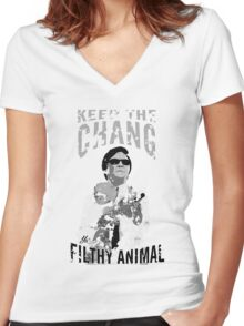 Keep The Chang You Filthy Animal (Black & White) Women's Fitted V-Neck T-Shirt