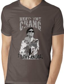 Keep The Chang You Filthy Animal (Black & White) Mens V-Neck T-Shirt