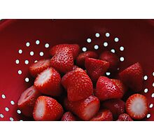 Strawberry in Red Photographic Print