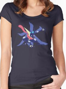 Greninja with Water Kanji Women's Fitted Scoop T-Shirt