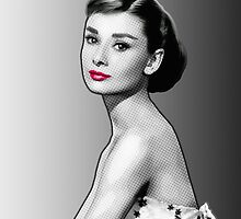 Audrey Hepburn - Black, White & Red by Everett Day