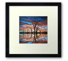 Tree Lake Sunset Framed Print