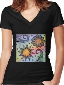 """""""Mixed Media"""" Women's Fitted V-Neck T-Shirt"""