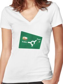 Cake or death Women's Fitted V-Neck T-Shirt