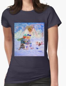 Skaters in Love Decor & Gift by Marie-Jose Pappas Blue Womens Fitted T-Shirt