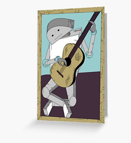 Robot Art after Picasso's Old Man with Guitar Greeting Card
