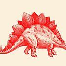 Red Stegosaurus  by Terry  Fan