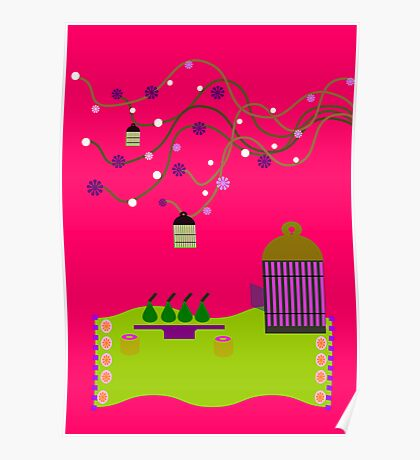birdcage pink Poster
