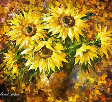 Living Sunflowers — Buy Now Link - www.etsy.com/listing/213792889 by Leonid  Afremov